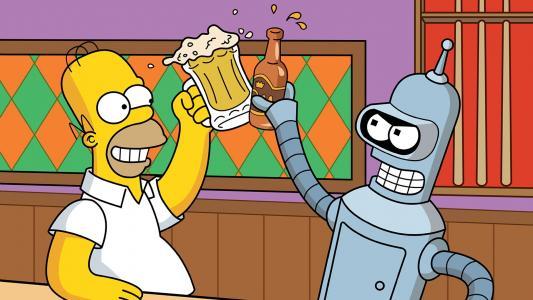 荷马和弯机喝啤酒高清壁纸
