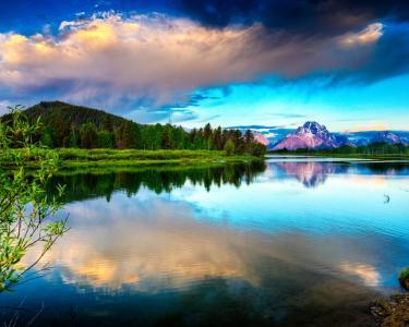 Hdr湖和山壁纸