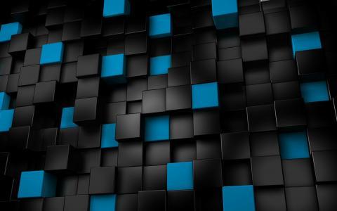 黑色和蓝色的多维数据集壁纸