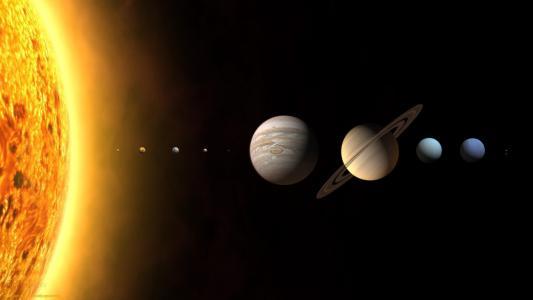 太阳和行星大小比较高清壁纸