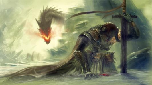 流血的骑士VS龙高清壁纸