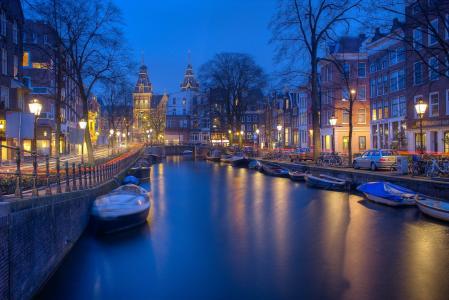 阿姆斯特丹夜晚景色