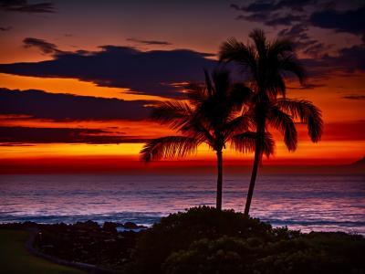 夏威夷橙色日落壁纸