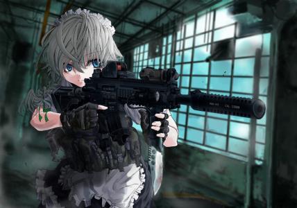 动漫女孩与枪壁纸