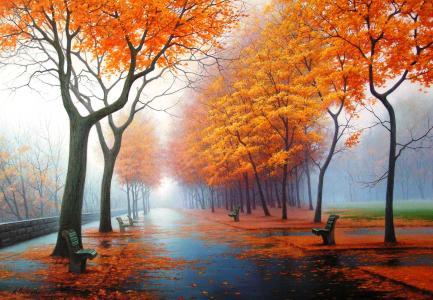 橙色秋季场景壁纸