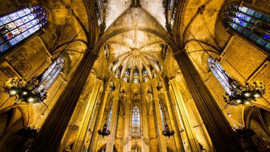 巴塞罗那大教堂内部景观