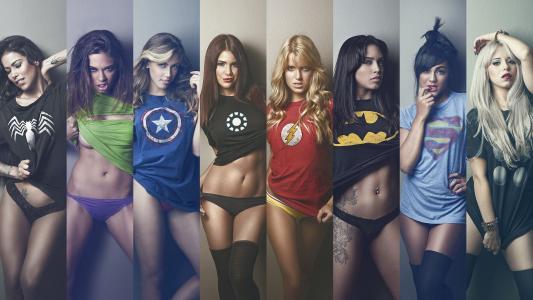 女孩穿着超级英雄衬衫壁纸