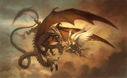 龙与天使骑士壁纸