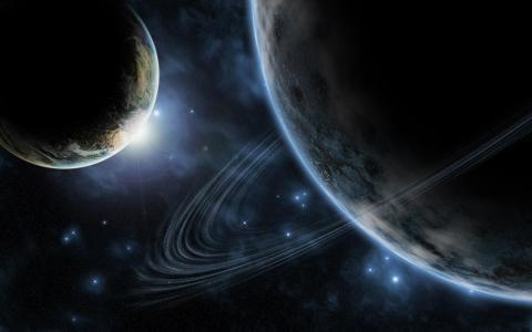 与圆环墙纸的行星